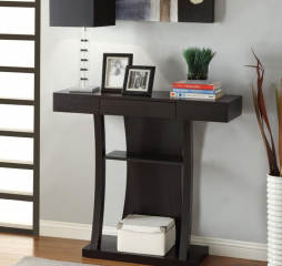 Contemporary Cappuccino Two Shelf Rectangular Console Table by Coaster