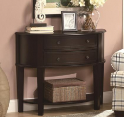 Cappuccino Two Drawer Demilune Shape Console Table by Coaster