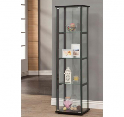 Black and Clear Glass Curio Cabinet by Coaster