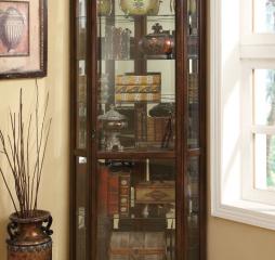 Rich Brown Six Shelf Corner Curio Cabinet by Coaster