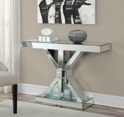 Clear Mirror Reventlow X-Shaped Base Console Table by Coaster