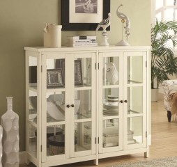 White Four Door Display Accent Cabinet by Coaster