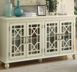 Enchanting Antique White Four Door Accent Cabinet by Coaster