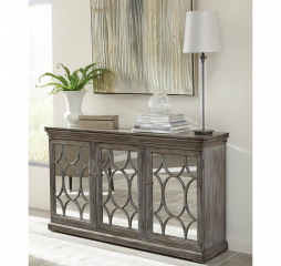Antique Gray Accent Cabinet w/ Three Mirrored Doors by Coaster