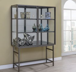 Brushed Black Nickel Two Door Curio Cabinet by Coaster