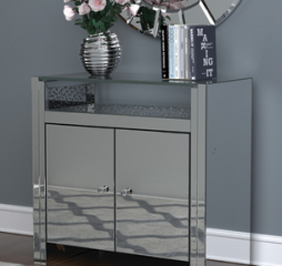 Clear Mirror and Silver Two Door Accent Cabinet by Coaster
