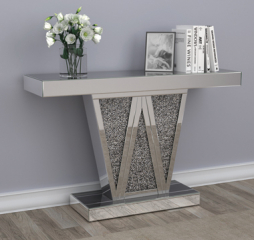 Glamorous Silver Rectangular Console Table by Coaster