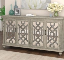 Elegant Transitional Antique White Four Door Accent Cabinet by Coaster