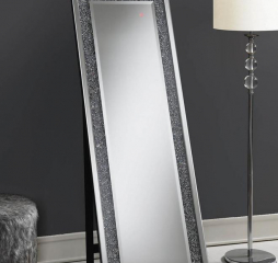 Silver Rectangular Standing Mirror w/ LED Lighting by Coaster
