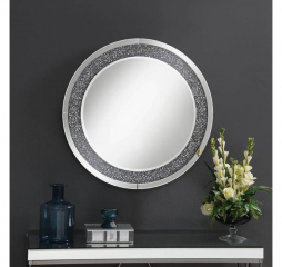 Silver Round Wall Mirror w/ LED Lighting by Coaster