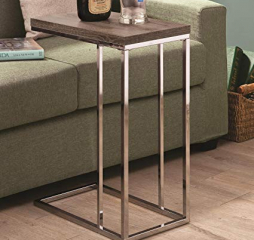 Transitional Chocolate Chrome and Weathered Gray Accent Table by Coaster