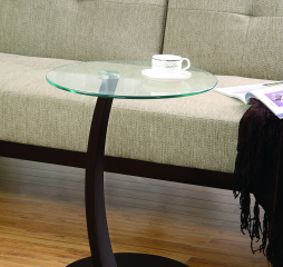 Cappuccino Accent Table w/ Round Glass Top by Coaster