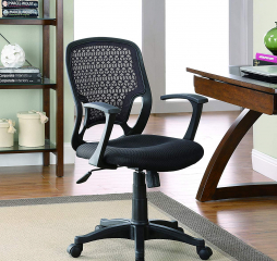 Casual Wheeled Black Mesh Office Chair by Coaster