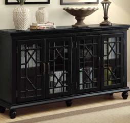 Enchanting Antique Black Four Door Accent Cabinet by Coaster