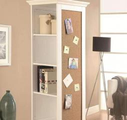 White Swivel Accent Cabinet w/ Cork Board by Coaster