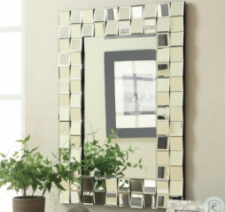 Silver Contemporary Rectangular Wall Mirror w/ Checkered Frame by Coaster