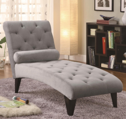 Transitional Gray Chaise by Coaster