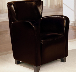 Transitional Dark Brown Faux Leather Accent Chair by Coaster