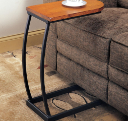 Transitional Brown and Black Metal Base Accent End Table by Coaster