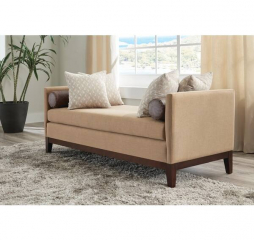 Amber and Brown Upholstered Wooden Legged Bench by Coaster