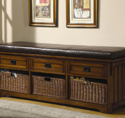 Brown Three Drawer Storage Bench by Coaster