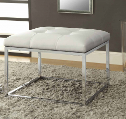 White and Chrome Upholstered Tufted Ottoman by Coaster
