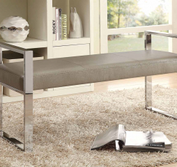 Champagne and Chrome Upholstered Bench by Coaster