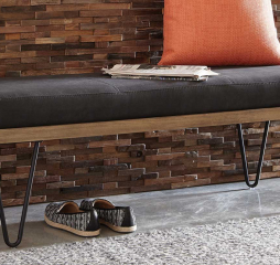 Black Upholstered Bench w/ Hairpin Legs by Coaster