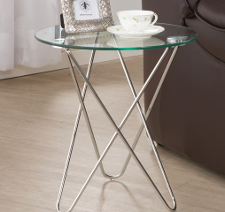 Contemporary Chrome Metal Base Accent Table by Coaster