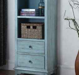 Blue Two Drawer Accent Cabinet w/ Woven Basket by Coaster