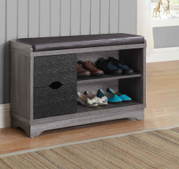 Medium Brown and Black Two Drawer Storage Bench by Coaster