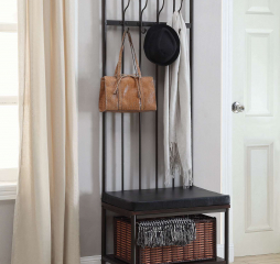 Traditional Dark Walnut and Dark Bronze Hall Tree w/ Storage Bench by Coaster