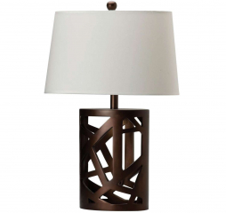 Transitional Warm Brown and White Geometric Base Table Lamp by Coaster