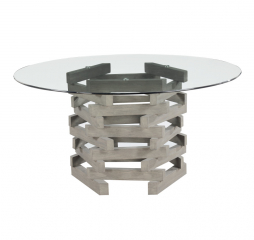 Jenga Round 60″ Glass Top Dining Table by Emerald Home Furnishings