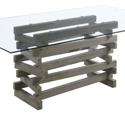 Jenga Rectangular Glass Top Dining Table by Emerald Home Furnishings