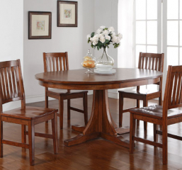 Colorado 66″ Round Pedestal Table w/ 18″ Leaf by Winners Only