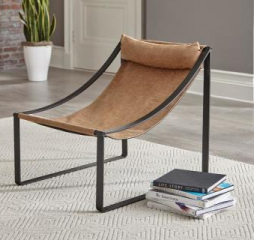 Light Brown and Matte Black Sled Base Accent Chair by Coaster
