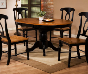Quails Run Pedestal Table w/ 15″ Butterfly Leaf by Winners Only