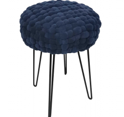 Quilted Blue Woven Cushion Accent Stool with Black Metal Paper Clip Legs by Stylecraft