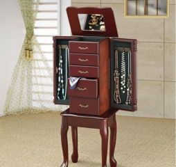 Traditional Merlot Four Drawer Jewelry Armoire by Coaster