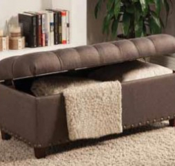 Mocha Tufted Storage Bench w/ Nailhead Trim by Coaster