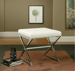 White and Chrome X-Cross Square Ottoman by Coaster