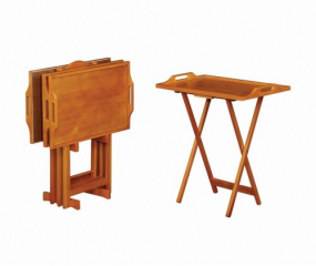 Casual Five Piece Tray Table Set w/ Handles by Coaster