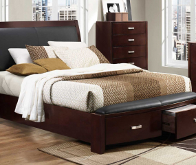 Lyric Sleigh Platform Bed w/ Footboard Storage by Homelegance