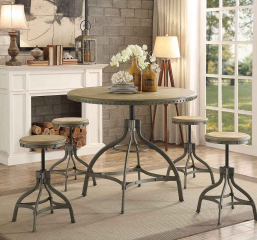Beacher Round Dining Table w/ Adjustable Height by Homelegance