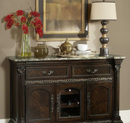 Russian Hill Server w/ Faux Marble Top by Homelegance