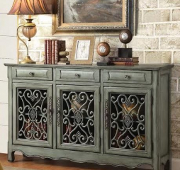 Antique Green Three Door Accent Cabinet by Coaster