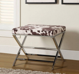 Brown and Chrome X-Cross Legs Ottoman by Coaster
