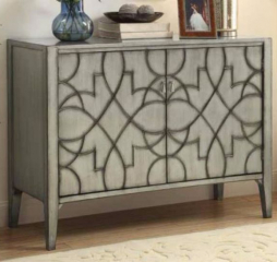 Gray Accent Cabinet w/ Carved Doors by Coaster