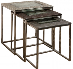 Gunmetal and Bronze Polished Nickel Nested Set of Three Tables w/ Cast Aluminum by Stylecraft